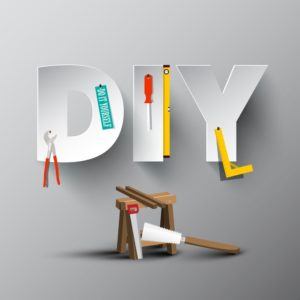 DIY - Do It Yourself Paper Cut Letters with Tools and Sawhorse. Vector Joinery Workroom Concept.
