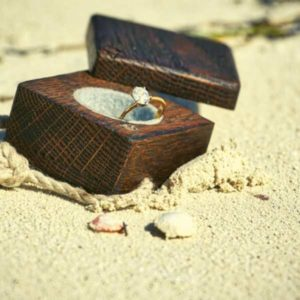 Wooden boxelder jewelry box with a ring